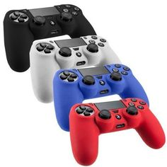 Honbay 4 color Combo Silicone Skin Cover Case Protection Skin For SONY Playstation 4 PS4 Dualshock 4 Controller-Black/Red/Blue/Clear
