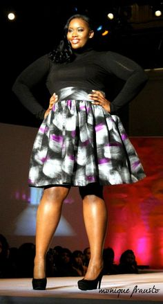 JIBRI Plus Size High Waist Flare Skirt (Purple Detailed Felted Wool) >> LOVE!