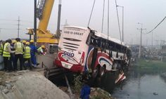 News: [Sad] 3 confirmed dead 23 injured as luxurious bus with 59 passengers plunges into canal in Ikorodu    Three persons were confirmed dead 23 injuredon Fridaymorning February 17th when a luxurious bus plunged into canal at Owode Elede Ikorodu Road  A statement issued by the Lagos State Emergency Management Agency says the Luxurious bus with registration number Anambra GDD 386 YE belonging to GUO Transport Service Co. LTD was gathered to be enroute Maza Maza from Aba Abia State…