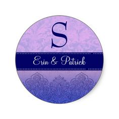 #Purple and #Lilac #Wedding #Damask  #Monogram #Stickers