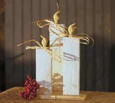 Wood Christmas Candles - Rustic White Candles Simple rustic primitive wooden candles. Display on TableTop, Mantle or Porch. Made with reclaimed wood. Hand cut and painted Antique White and distressed.