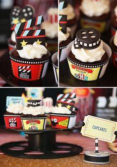decoracao de festa cinema cupcakes