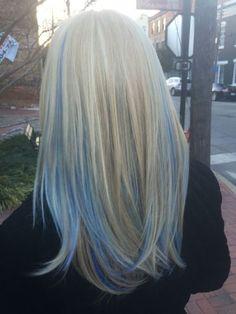 Funky Hair Colors, Hair Dye Colors, Blue Colors, Hair Color Streaks, Blonde Hair With Highlights, Blue Peekaboo Highlights, Pastel Highlights, Blonde And Blue Hair, Pastel Blue Hair