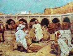 """Ferdinand WILLAERT (1861-1938), """"Marché à Tanger"""", huile sur toile, collection privée."""