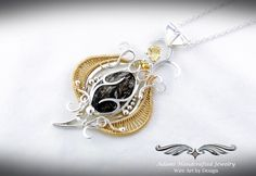 Rare Astrophyllite Pendant Necklace in Fine Silver & GF w/ Faceted Citrine Fantasy Wire, Wire Weaving, Beading Projects, Wire Wrapped Jewelry, Handcrafted Jewelry, Glass Beads, Pendants, Pendant Necklace, Nature Inspired