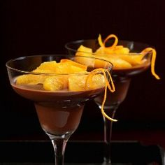 Chocolate panna cotta with oranges