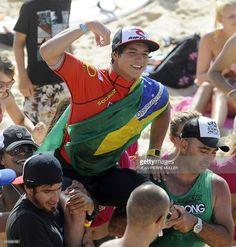 Brazilian Gabriel Medina celebrates after winning the Lacanau Pro surfing festival final, on August 21, 2011, in Lacanau, southwestern France.