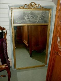 19th Century French Trumeau Mirror with original painting of cherubs.