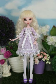Baby-doll dress and knee-socks for Monster High / EverAfterHigh doll 1/6 size