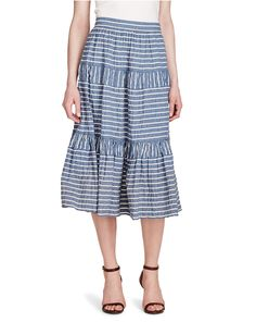 The mix-striped pattern adds to the fun vibe of this three ruffly tiersConcealed left-side-seam zipper with a hook-and-eye closureThree tiersHigh riseA-line silhouetteAbout from waist to hemCotton/linenMachine wash< Stripe Skirt, A Line Skirts, Midi Skirts, Seersucker, High Waisted Skirt, Ralph Lauren, Blue And White, Collection, Design