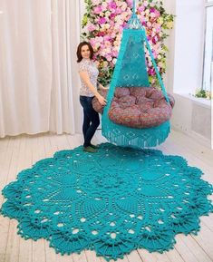 Absolutely stunning round carpet 82 in doily rug mint color carpet shabby chic rug for the living room by lacemats laceemma – artofit Crochet rug and chair Crochet Doily Rug, Crochet Carpet, Crochet Home, Crochet Stitches, Crochet Patterns, Crochet Curtains, Tapete Doily, Crochet Furniture, Shabby Chic Rug