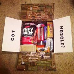 """""""Got Muscles?"""" Care Package Theme!  Carson would LOVEEE!"""