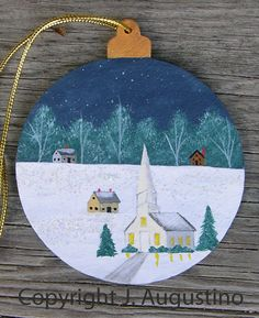 Folk Art Hand Painted Wooden Ornament Christmas by JoanAugustino, $14.95