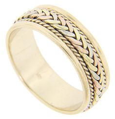A braided design incorporating yellow gold, red gold and white gold ornaments the center of this 14K yellow gold vintage men's wedding band. A spiraling rope pattern flanks the central design. The wedding ring measures 7.3mm in width. Circa: 1950. Size: 9 1/4. Cannot be resized.
