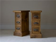 These skinny nightstands would be perfect in my little bedroom.