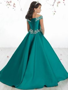 Junguan Flower Girls Off The Shoulder Pageant Dresses Long Princess Birthday Formal Party Ball Gowns Aline with Pockets Girls Short Dresses, Girls Pageant Dresses, Gowns For Girls, Pageant Gowns, Prom Dresses Blue, Little Girl Dresses, Flower Girl Dresses, Formal Dresses, Flower Girls