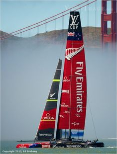 Emirates Team New Zealand sails their AC72 on San Francisco Bay in the Louis Vuitton Cup | photo: Ed Broberg