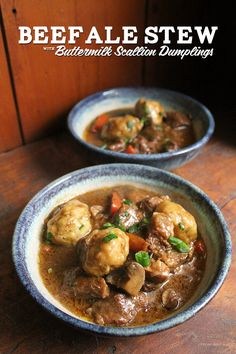 Beef and Ale Stew with Buttermilk Scallion Dumplings