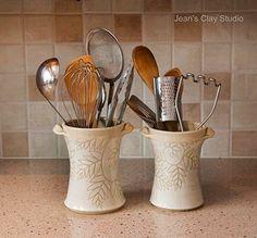 Photo Mondays: Jean's Clay Studio.  Utensil holders made by Jean's Clay Studio