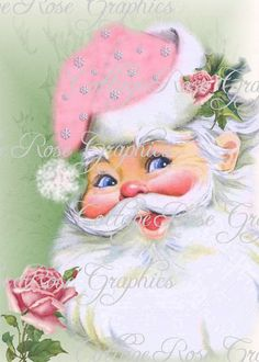 Sweet Vintage Pink Santa With Roses Fabric Block Quilt Pillow Stocking FB 662 Shabby Chic Christmas, Antique Christmas, Retro Christmas, Vintage Christmas Cards, Santa Christmas, Christmas Pictures, Christmas Ideas, Father Christmas, Christmas Decorations