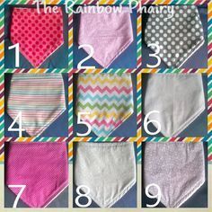 MULTI BUY 3 for 11 Pounds Bandana Dribble Bibs by TheRainbowPhairy, £11.00