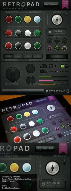 Retropad - Touch User Interinterface, you can buy this GUI PSD on GraphicRiver for just $7