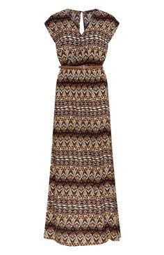 Primark - Vestido largo cruzado con cinturón y estampado azteca marrón
