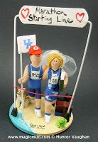 Wedding Cake Toppers for Joggers by http://blog.magicmud.com, $235 ... custom hand made for brides and groom who love running marathons, triathlons, or any type of jogger or runner would cherish these!! The wedding couple can be in gown and suit, in shorts and singlet, or any combination of clothing...#joggers#runners#marathon$triathalon#wedding #cake #toppers  #custom #personalized #Groom #bride #anniversary #birthday#weddingcaketoppers#cake toppers#figurine#gift#wedding cake toppers