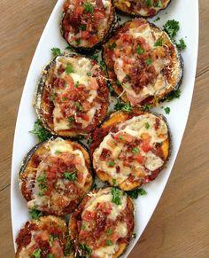 Keto Eggplant Parmesan Pizzas - The bacon is optional
