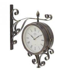 METALLIC STATION CLOCK IN ANT_GOLDEN_BROWN COLOR 37X9X40