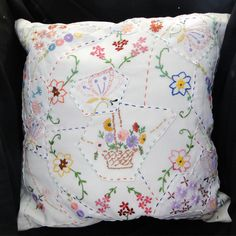 Hand Embroidered Patchwork Cushion - Vintage Flower Basket