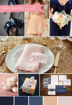 Navy and gold...with a hint of pink. Awesome wedding colours...something for the bride and groom! I like*