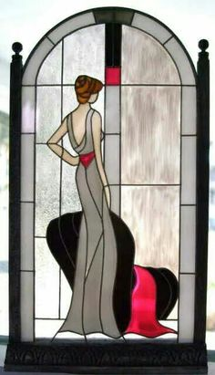 This beautiful stained glass window shows a rather classy lady looking out the window. Stained Glass Quilt, Faux Stained Glass, Stained Glass Designs, Stained Glass Panels, Stained Glass Projects, Stained Glass Patterns, Leaded Glass, Mosaic Glass, Painting On Glass Windows