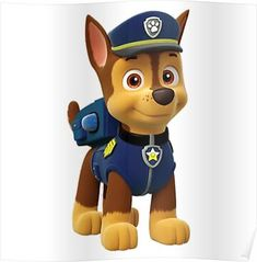 Paw Patrol - Meet the characters from the Nickelodeon hit show for preschoolers, Paw Patrol.: Chase from Paw Patrol Paw Patrol Rocky, Paw Patrol Birthday Cake, Paw Patrol Party, Birthday Cake Toppers, Paw Patrol Games, Paw Patrol Cartoon, Paw Patrol Clipart, 3rd Birthday Parties, 4th Birthday