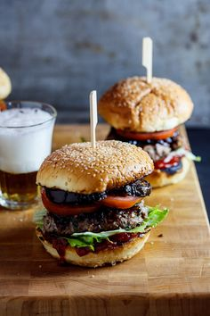 Big Beef Burgers with caramelised onions, fried aubergine and tomato chutney. #Recipe