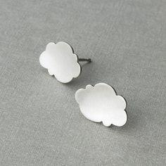 Cloud earrings - handmade in sterling silver.