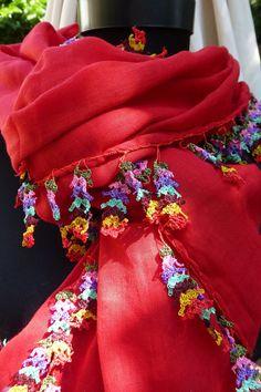 Turkısh Oya Trımmed Long Scarf / Shawl Red by Pllowcoversetc