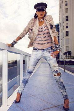 blue ripped Balmain jeans - light pink Chanel jacket - light pink Chanel top