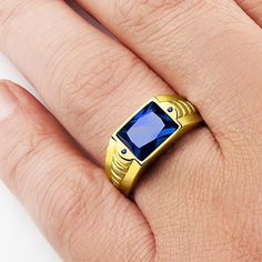 NATURAL Blue Sapphire 3.40CTW Gemstone in 10k SOLID Yellow Gold Men's Ring #Handmade #Statement