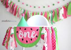 One In A Melon birthday, Watermelon high chair banner, first birthday, 1st, watermelon cake smash, photo prop, party decorations, backdrop by BillieBellaBunting on Etsy https://www.etsy.com/listing/593519451/one-in-a-melon-birthday-watermelon-high