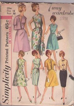 Simplicity 5398 Vintage 60's Sewing Pattern SWEET 7 Way Wardrobe Mad Men Sheath or A-Line Skirt Cocktail Party or Day Dress Set, 5 Styles & Frog Toggle Cover Up Jacket