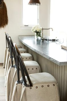 windsor bar stools in cream linen with nailhead trim - thought for current bar stools