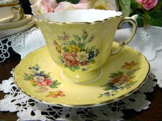 1930s Aynsley Yellow Teacup Tea Cup and Saucer - Footed Floral Set