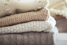 Tips for Washing & Drying Fall Sweaters (That Aren't Hand Washing) - Kenmore® Community Ideas Para Organizar, Fashion And Beauty Tips, Fall Sweaters, Wooden Tables, Decluttering, Merino Wool Blanket, Retro Fashion, Cozy, Stuff To Buy