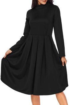 Black Pocket Style High Neck Long Sleeve Skater Dress MB61841-2 – ModeShe.com Nice Dresses, Casual Dresses, Dresses For Work, Elegant Dresses, Casual Fall Outfits, Swing Dress, A Line Skirts, Skater Dress, Dress Collection
