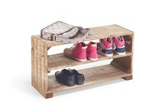 Our traditional wooden shoe storage benches are lovingly made with wood from a sustainable wood source. Hand crafted in Swanage, Dorset. Designed to keep your hallway clear and tidy, this will help ke… Wooden Shoe Storage, Shoe Storage Rack, Shoe Shelves, Wooden Rack, Bench With Shoe Storage, Shoe Rack, Shelving, Chip Company, Storage Benches