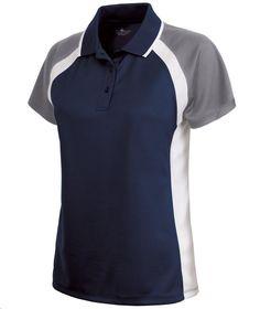 Charles River Apparel Style 2425 Women's Ares Button Polo - SweatshirtStation.com #CharlesRiverApparel #navygreywhite #poloshirt