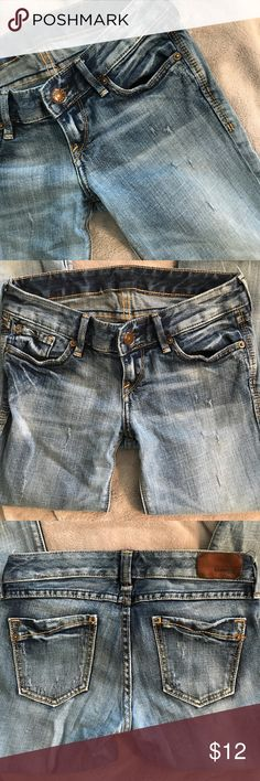 Distressed Express Jeans Faded blue Express Jeans. Size 00S. Leather Express label on back is coming loose & brand name is faded inside. In great used condition! Express Jeans