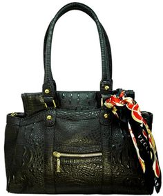 Click Image Above To Buy: Vecceli Italy Alligator Embossed Black Handbag Designed By Ronella Lucci As-168alliblk