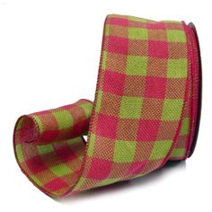 "Faux Burlap Ribbon 4"" x 25 yards Color: Dark Pink Spring Green Check Material: 100% Polyester Wire Edge     www.trendytree.com"